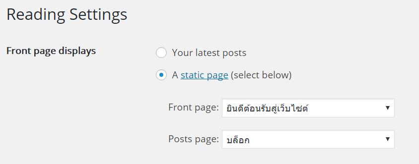WordPress - หน้า Home