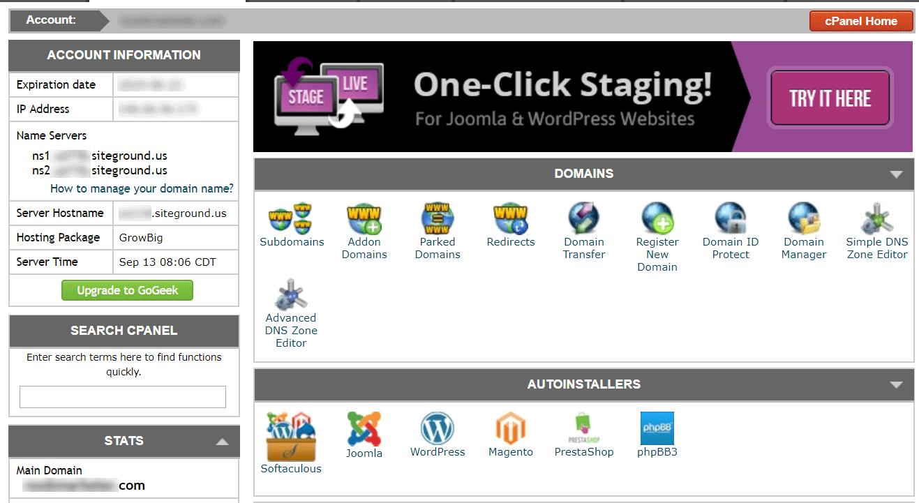 หน้าตาของ cPanel สำหรับจัดการเว็บไซต์